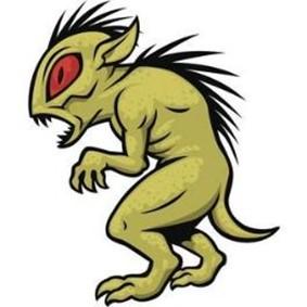 Ilustración de un Chupacabras con características de reptil.