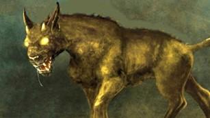 Chupacabras similar a un perro de gran tamaño y/o coyote.